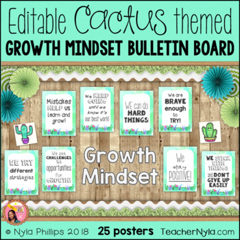 Growth and Mindset Affirmation Posters - Cactus Theme