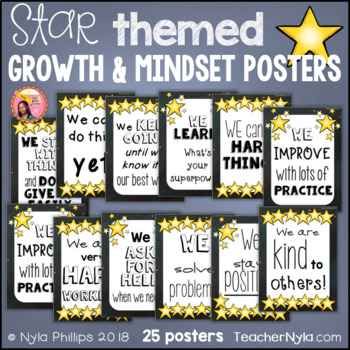 Growth and Mindset Affirmation Posters - Star Theme
