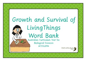 Growth and Survival of Living Things Word Bank