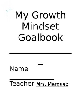 Growth mindset goal book (editable)