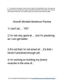 Growth mindset skit prompts
