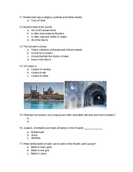 Growth of Islam Test (MC, T/F, Writing)