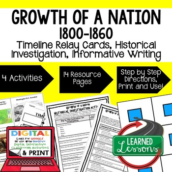 Growth of a Nation Timeline Relay & Writing Activities Pap