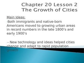 Growth of cities, urbanization