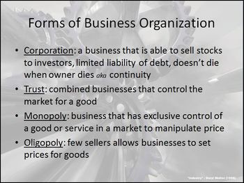 Growth of the Corporation as a Form of Business Oil, Railroads, Steel PowerPoint