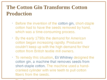 Growth of the Cotton Industry