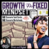 Growth vs. Fixed Mindset Scenario Task Cards and Worksheets (Print and Digital)