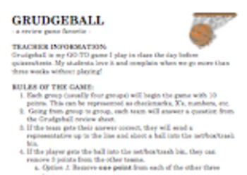 Grudgeball - Review Game - Any Content Area - High School Student Favorite!
