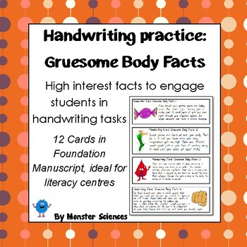 Gruesome Body Facts - Fun handwriting practice - Foundation