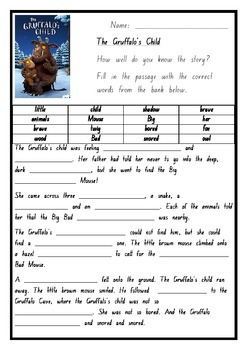 Gruffalo's Child Comprehension activity