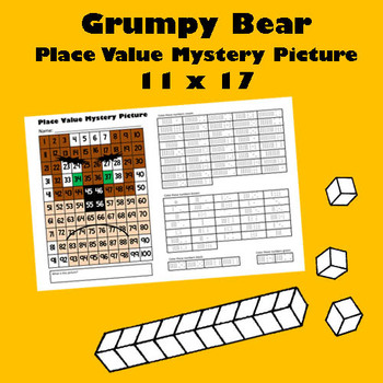 Grumpy Bear Place Value Math Mystery Picture - 11x17