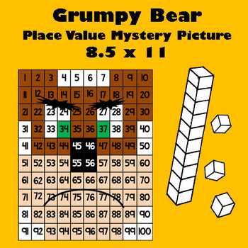 Grumpy Bear Place Value Math Mystery Picture - 8.5x11