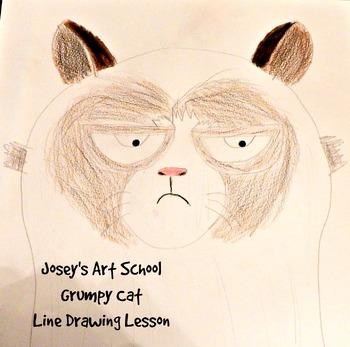 Grumpy Cat Drawing Lesson: How to Draw Grumpy Cat Easy Prep Fun Activity Art Sub