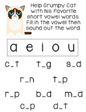 Grumpy Cat Short Vowel CVC Word Activity