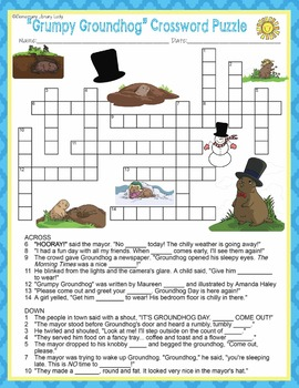Grumpy Groundhog Activities Wright Crossword Puzzle and Word Searches
