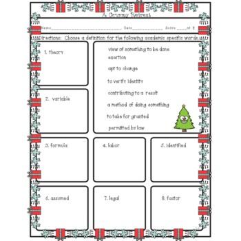 Christmas Synonyms Antonyms Roots Grumpy Tree Emojis Worksheets No Prep