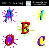 Grunge Alphabet and Numbers Clip Art - Commercial Use