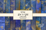 Grunge Blue and Gold Digital Paper Textures