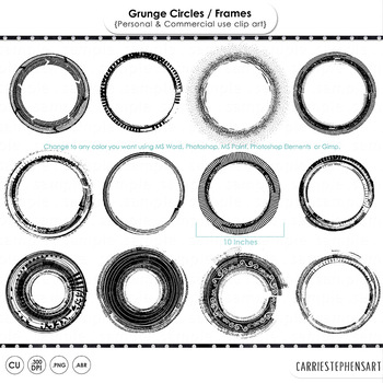 Grunge Circle Frame ClipArt, Messy Round Borders, Distressed, Scribble