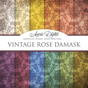 Grunge Damask Digital Paper Textures Background scrapbook worn grungy shabby