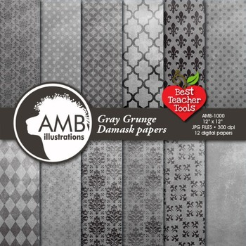 Grunge Digital Paper, Gray Damask Pattern, Shabby Chic Papers AMB-1000