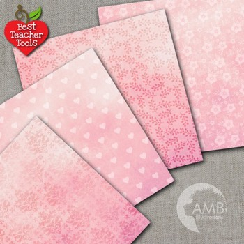 Grunge Digital Paper, Pink Damask Pattern, Shabby Chic Papers AMB-1006