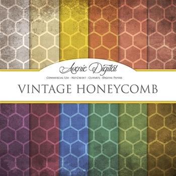 Grunge Honeycomb Digital Paper Textures Background scrapbook worn grungy shabby
