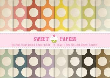 Grunge Large Polka Digital Paper Pack - by Sweet Papers