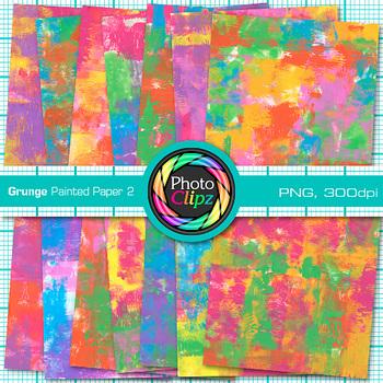 Grunge Painted Paper | 14 Digital Backgrounds & Scrapbook Paper 2