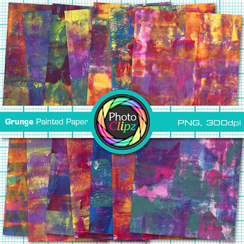 Grunge Painted Paper | 14 Digital Backgrounds & Scrapbook Paper