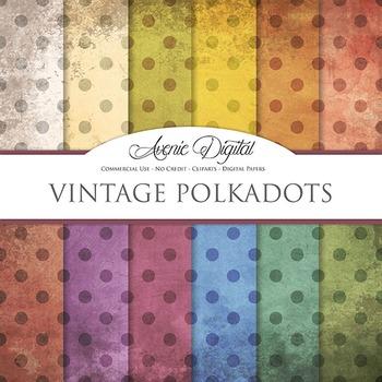 Grunge Polka dots Digital Paper Textures Background scrapbook worn grungy shabby