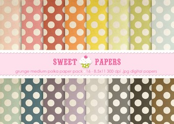 Grunge Rainbow Medium Polkadot Digital Paper Pack - by Sweet Papers