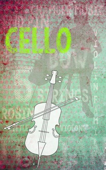 Grunge Style Cello Poster, Full Size