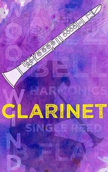 Grunge Style Clarinet Poster, Full Size