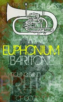 Grunge Style Euphonium Poster, Full Size