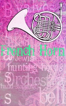 Grunge Style French Horn Poster, Full Size