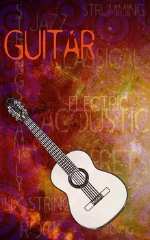 Grunge Style Guitar Poster, Full Size