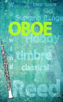 Grunge Style Oboe Poster, Full Size