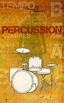 Grunge Style Percussion Poster, Full Size