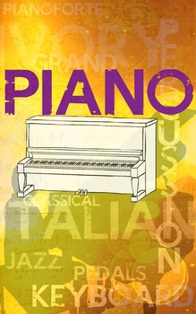 Grunge Style Piano Poster, Full Size