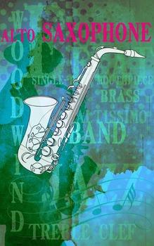 Grunge Style Saxophone Poster, Full Size