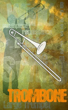 Grunge Style Trombone Poster, Full Size