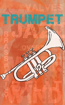 Grunge Style Trumpet Poster, Full Size