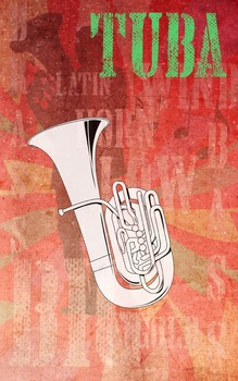 Grunge Style Tuba Poster, Full Size