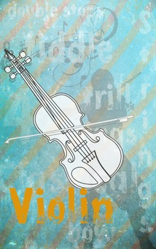 Grunge Style Violin Poster, Full Size