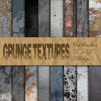Grunge Textures Digital Paper Pack  - 16 Different Papers - 12inx12in