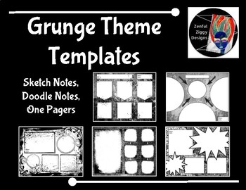 Templates: Sketch Notes, Doodle Notes, One Pagers (Grunge Theme)