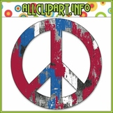 $1.00 BARGAIN BIN - Grungy Patriotic Peace Sign Clip Art Single