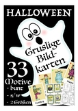 Gruslige Halloween flash cards, Bildkarten Deutsch /DAF, German culture, Germany