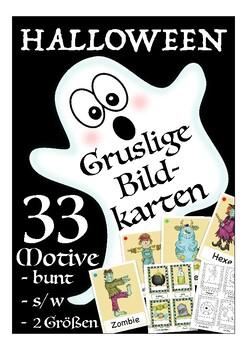 Gruslige Halloween flash cards, Bildkarten Deutsch /DAF, German culture, Germany